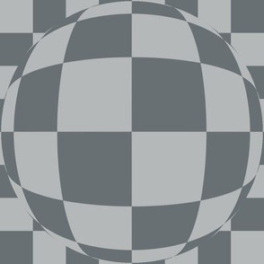 J34 -  Large Scale - Bubbly Op Art Checks in Two Tones of  Blue-Grey