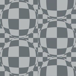 J34 -  Medium Scale - Bubbly Op Art Checks in Two Tones of  Blue-Grey
