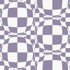 JP35 - Medium Scale - Bubbly Op Art  Checks in White and  Violet Blue