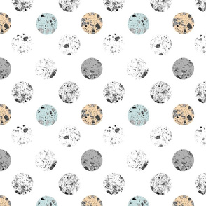 Polka Dots _ Moon texture on White