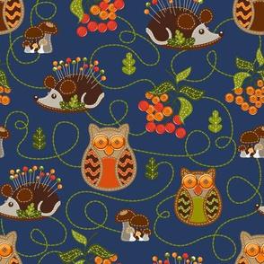 Fall Hedgehog & Owl