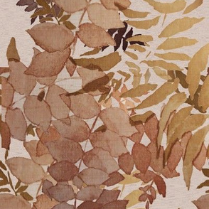 Brown Leaves in the Fall Faux Textured Wallpaper