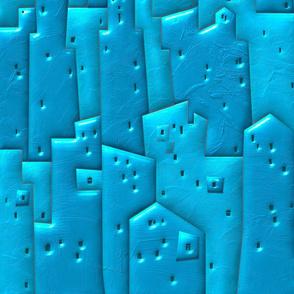 Blue Mediterranean-style coastal resort town.  Voluminous Composition