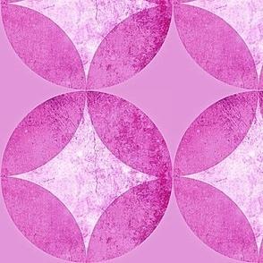 Fuchsia Mid Century Modern atomic starburst Pink Venetian Plaster, Spring Bloom, Mid century Modern style circles