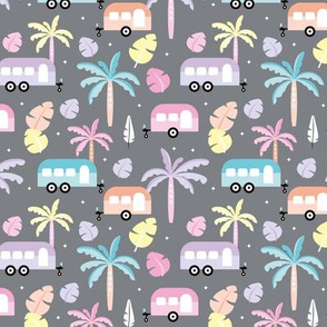 Happy summer holiday tropical travels camper van trip island vibes surf lovers gray miami pastel kids