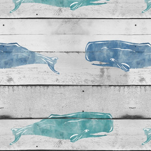 woodplank with whales