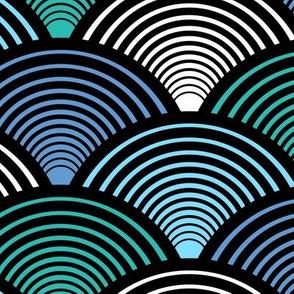 Fan Pattern Blue Teal Large
