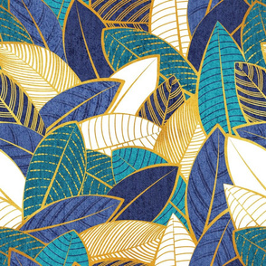 Normal scale // Leaf wall // navy blue royal blue and teal leaves golden lines