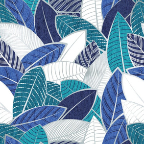 Normal scale // Leaf wall // navy blue royal blue and teal leaves silver lines
