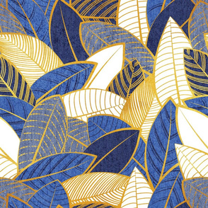 Normal scale // Leaf wall // navy royal and pale blue leaves golden lines