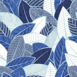 Normal scale // Leaf wall // navy royal and pale blue leaves pastel blue lines