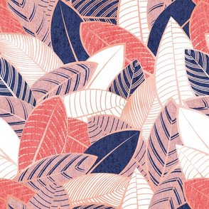 Normal scale // Leaf wall // navy blue coral and blush pink leaves rose metal lines