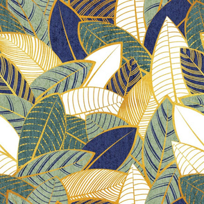 Normal scale // Leaf wall // navy blue pine and sage green leaves golden lines