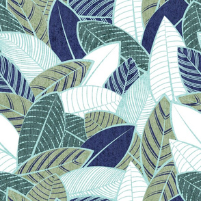 Normal scale // Leaf wall // navy blue pine and sage green leaves mint lines