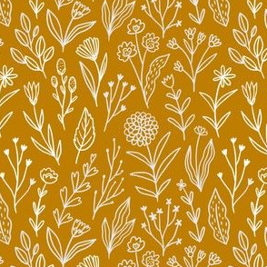 Mustard flower meadow pattern design. Summer florals.