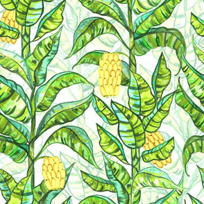 Lush Gouache Banana Trees (Large Version)