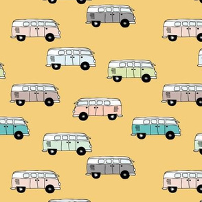 Happy camper van summer vacation travels boho vehicles hippies design boys yellow