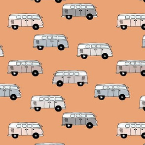 Happy camper van summer vacation travels boho vehicles hippies design kids neutral nursery sand beige tangerine