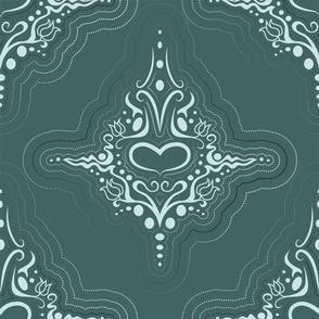 geschmücktes Herz mit gepunkteten Linien, pine