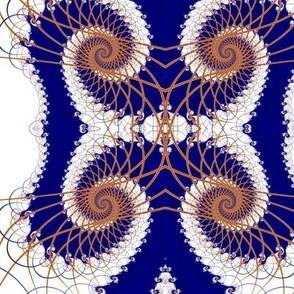 Netted Fractal Tentacles in Royal Blue and Gold