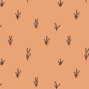 Little boho garden minimal delicate branch grass spring summer Scandinavian neutral nursery cinnamon moody orange black