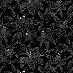 Lovely Lilies Black & White Floral