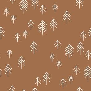 pinetree fabric - minimal tree fabric, forest woodland nursery fabric - sfx1336 pecan