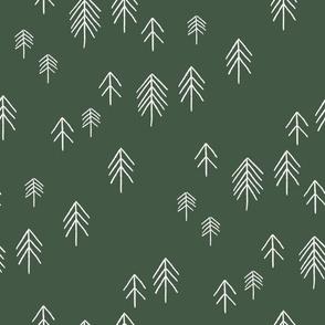 pinetree fabric - minimal tree fabric, forest woodland nursery fabric - sfx0315 hunter