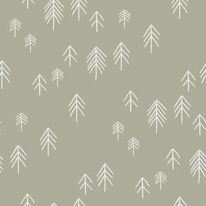 pinetree fabric - minimal tree fabric, forest woodland nursery fabric - sfx0110 sage