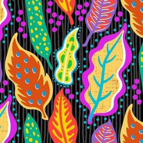 Papercut Leaves-Brights On Black