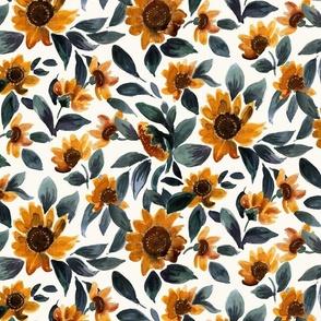 sunset sunflowers - teal leaves