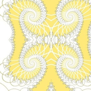 Netted Fractal Tentacles in Yellow and White