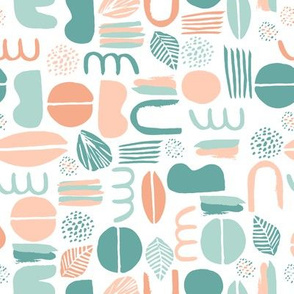 Abstract shapes Blocs mint and peach