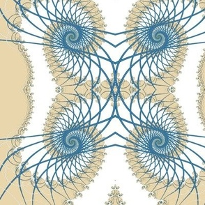 Netted Fractal Tentacles in Beige White and Blue