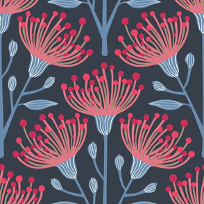 Australian Eucalyptus Navy Blue Deep Red Pink Light Blue-LARGE Scale-WHITE Added-Special Request