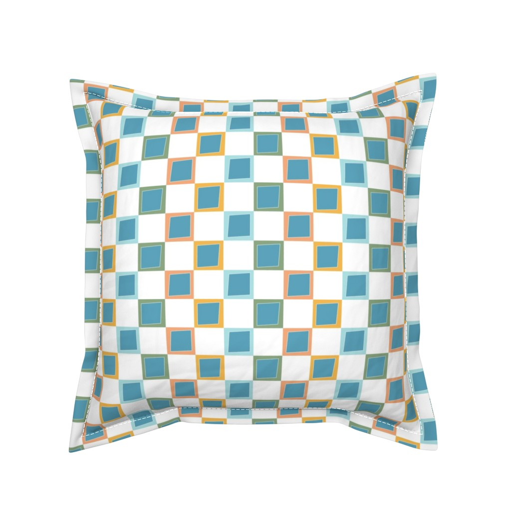 Serama Throw Pillow featuring Wacky Colorful Boxes by rebeccaink