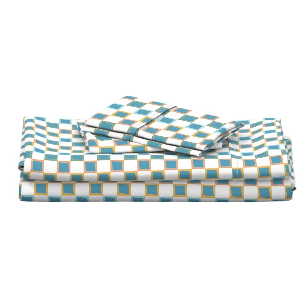 Langshan Full Bed Set featuring Wacky Colorful Boxes by rebeccaink