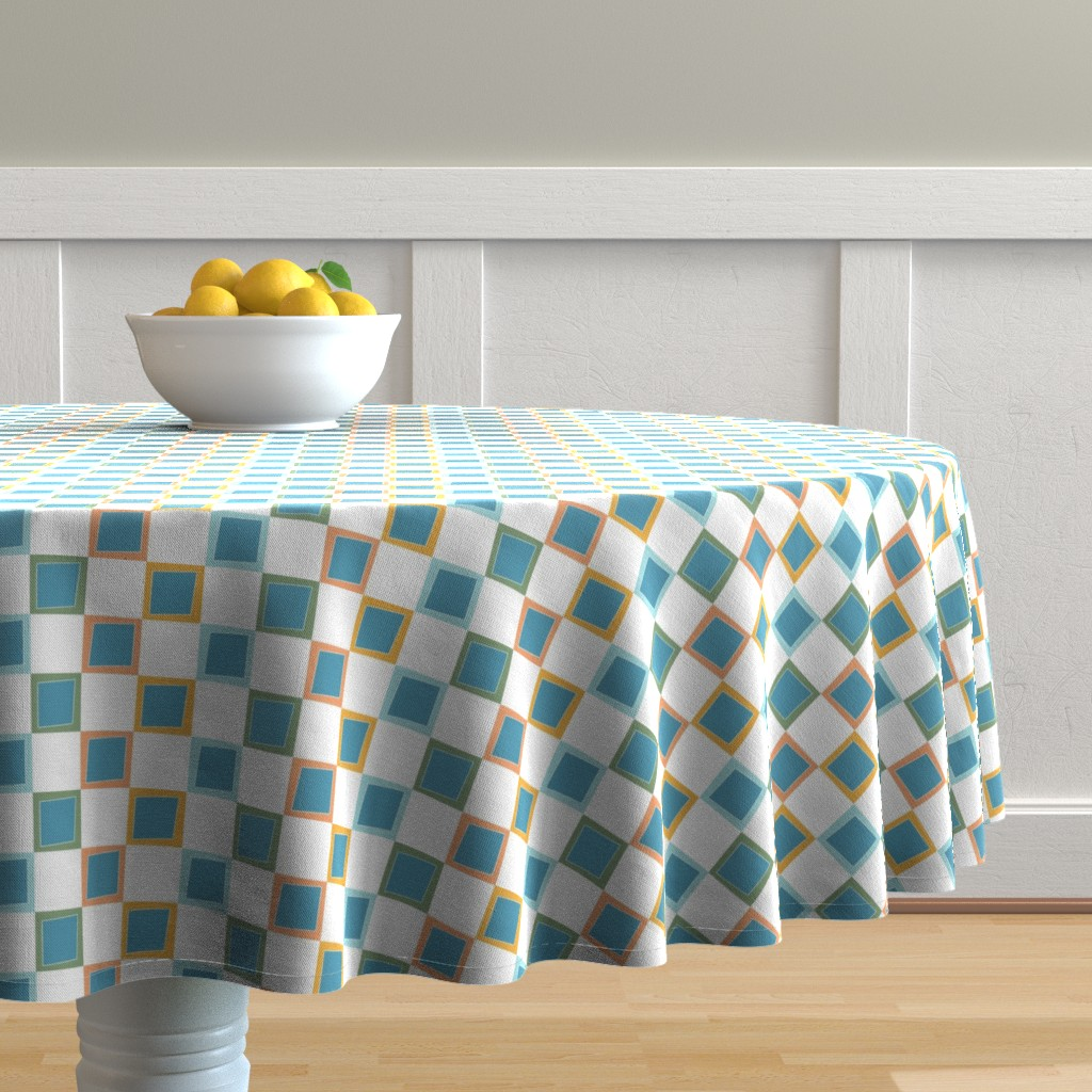 Malay Round Tablecloth featuring Wacky Colorful Boxes by rebeccaink