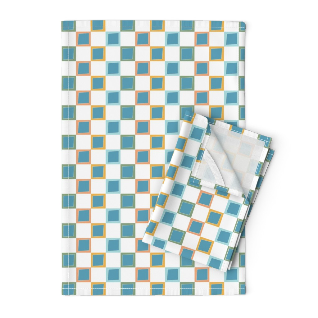 Orpington Tea Towels featuring Wacky Colorful Boxes by rebeccaink