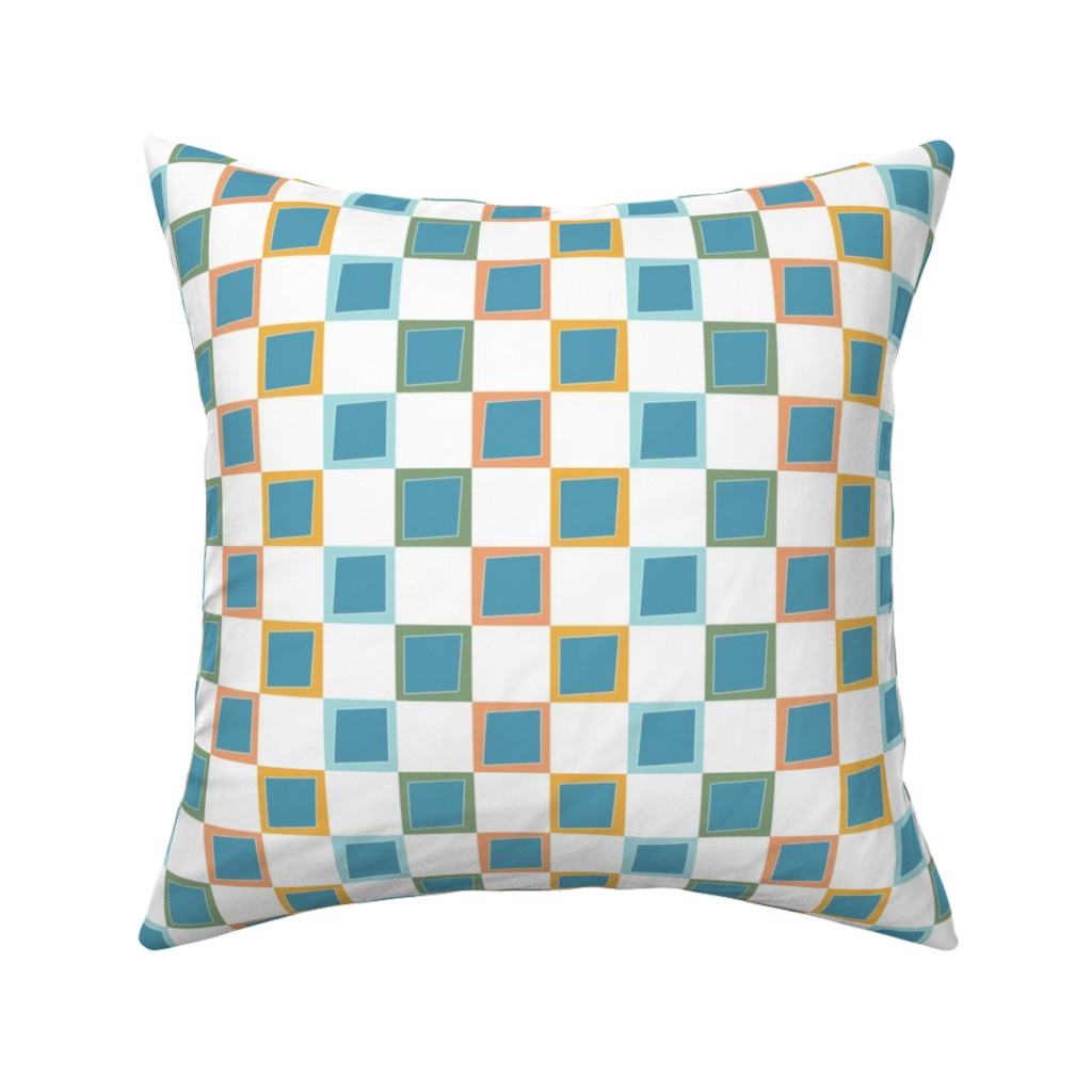 Catalan Throw Pillow featuring Wacky Colorful Boxes by rebeccaink