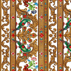 Parrot Damask Border Redux _ Bright White Vertical _ Copyright Peacoquette 2020