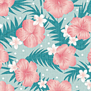 Tropical flowers in pink