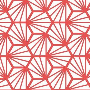 Geometric Pattern: Hexagon Ray: White Red