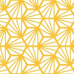Geometric Pattern: Hexagon Ray: White Yellow