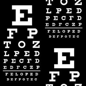 Standard Vision Chart in white on black