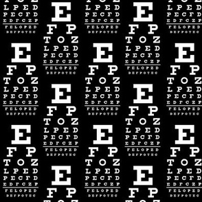 Small vision chart, white on black