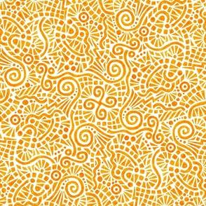 crayon doodles in solar orange