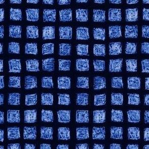 batik square grid - royal blue
