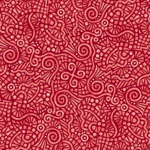 batik doodles in white on cranberry red