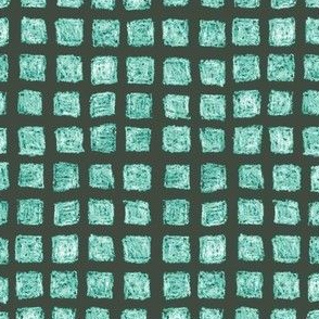 batik squares in oolong teal on khaki